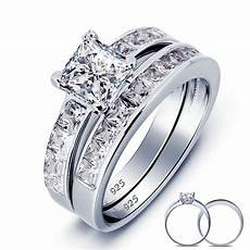solid 925 sterling silver 2 pc wedding ring wholesale
