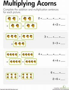 addition and multiplication sentence worksheets for grade 2 9504 multiplication add multiply acorns multiplication multiplication worksheets math