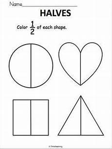 fractions halves coloring 1 2 one worksheet fractions worksheets fractions first grade