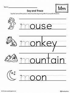initial letter m worksheets 24302 say and trace letter m beginning sound words worksheet myteachingstation