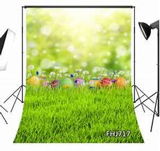 5x7ft Grass Flower Colorful Nature Vinyl by Vinyl Easter Nature Eggs Grass Flowers Studio