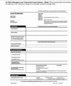 loan estimate form sle loan estimate form 6 exles in pdf