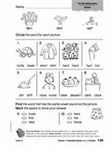 phonics r controlled vowels er ir ur review worksheet for 1st 2nd grade lesson planet