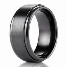 9mm black titanium benchmark men s wedding ring with stair step edges justmensrings com