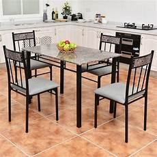 Furniture Kitchen Sets Costway 5 Faux Marble Dining Set Table And 4 Chairs