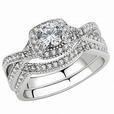 stainless steel s infinity wedding ring halo round cut cubic zirconia ebay