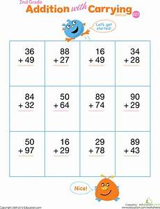 2nd grade math worksheet addition with carrying digits practice vertical addition with regrouping