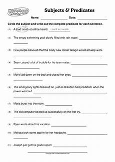 worksheet works subjects predicates