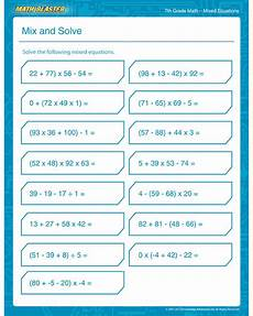 mix and solve free 7th grade math printable pdf worksheet math blaster