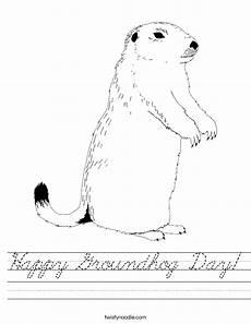 happy groundhog day worksheet cursive twisty noodle