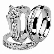 marimor jewelry his and hers stainless steel princess wedding ring set and eternity wedding