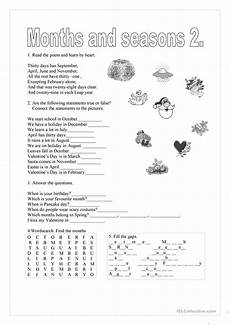 months and seasons activities worksheets 14767 months and seasons 2 worksheet free esl printable worksheets made by teachers