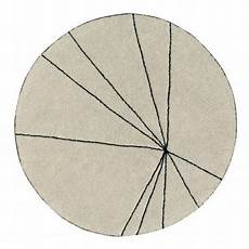 Tapis Rond Coton Beige Canals Trace 160 Cm Kdesign