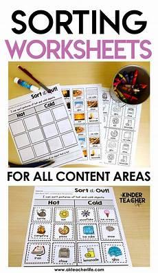 free sorting worksheets for preschoolers 7870 sorting worksheets for all content areas freebie included a kinderteacher