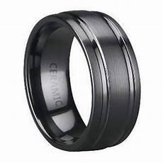 black ceramic men s wedding band parallel polished grooves 8mm