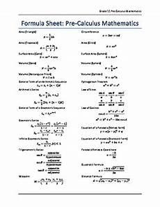 Calculus Formula Chart Grade 11 Pre Calculus Formula Sheet By Chris Sarkonak Tpt