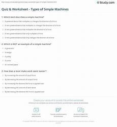 quiz worksheet types of simple machines study com