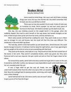 reading comprehension worksheet broken wrist