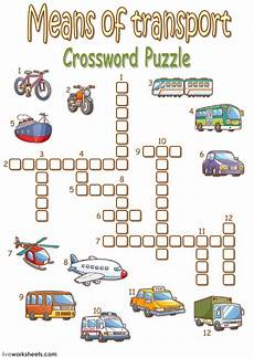 transportation worksheets esl 15184 means of transport crossword puzzle interactive worksheet