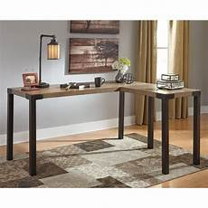 corner desk home office furniture ashley dexifield home office corner desk in light brown