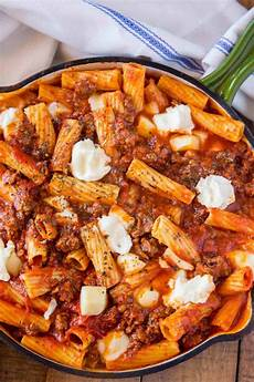 easy skillet baked ziti dinner then dessert