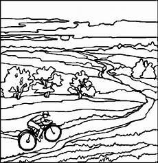 radfahrer vor landschaft ausmalbild malvorlage