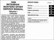 free online auto service manuals 1999 mitsubishi montero sport auto manual 1999 mitsubishi montero sport repair shop manual set original