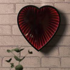 led light infinity heart shaped wall mirror red love gifts 3d light effect ebay