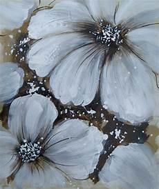peinture abstraite sur toile fleur blanche tableau peint