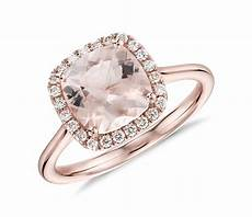 morganite and diamond halo cushion ring in 14k rose gold 8x8mm blue nile