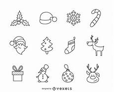 12 christmas icon outline vector download