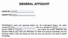 sle of affidavit form free general affidavit template