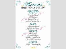 Birthday Party Menu Cards