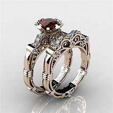 art masters caravaggio 14k rose gold 1 0 ct brown and white diamond engagement ring wedding band