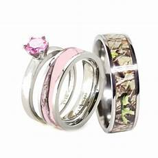 his pink camo band engagement wedding ring titanium stainless steel ebay