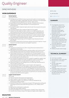 quality engineer resume sles and templates visualcv