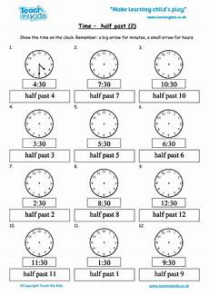 time worksheets hour and half past 3019 time half past 2 tmk education