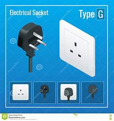 isometric switches and sockets set type g ac power
