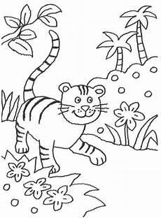 tiere kleiner tiger im dschungel zum ausmalen