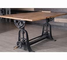 Table De Repas Industrielle Bois Relevable Manivelle 7199