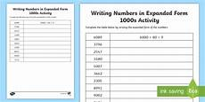 writing numbers in expanded form 1000s worksheet activity
