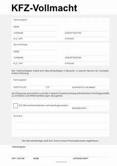 Vollmacht Auto Abmelden - vollmacht zur zulassung eines kfz pdf vorlage zum ausdrucken