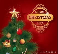 merry christmas tree with golden badge vector download
