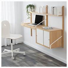 home office furniture ikea svaln 196 s wall mounted workspace combination bamboo white