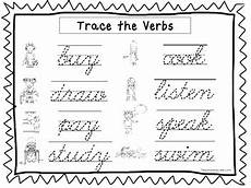 2 cursive trace the verbs worksheets kdg 2nd grade handwriting