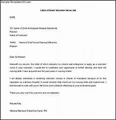 letter of intent volunteer nurse free sle free doc