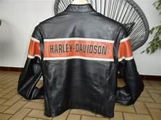vends blouson femme harley davidson cuir noir orange
