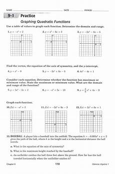 graphing quadratic functions in standard form worksheet briefencounters