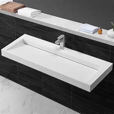 Lavabo Suspendu Rectangulaire Corian Blanc Mat 120x45 Cm