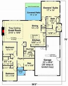 contemporary ranch home plan with mudroom off garage